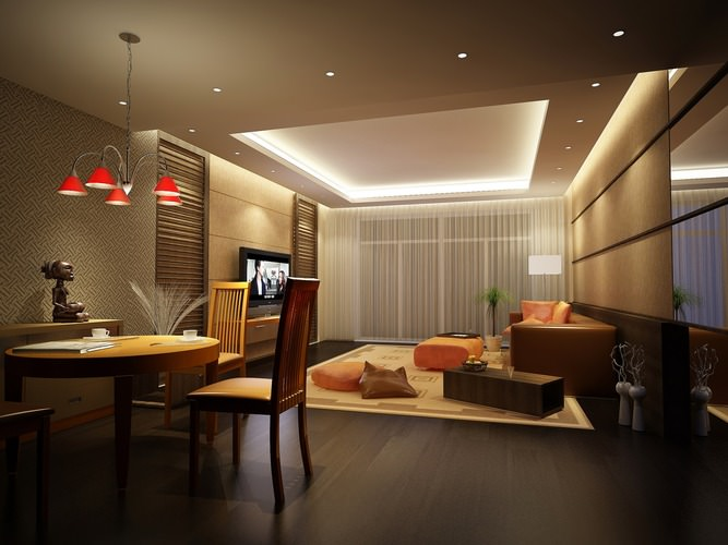 3d dining space with drawing room cgtrader for Dining room 3d max model