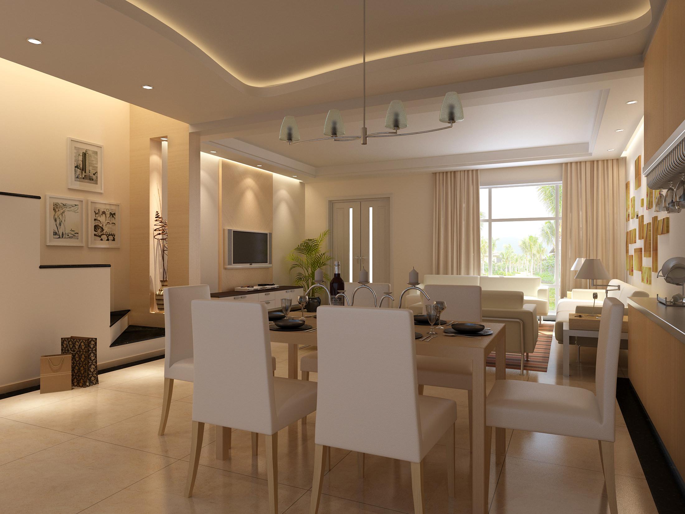 Elegant Dining Cum Living Room 3d Model Max 1 ...
