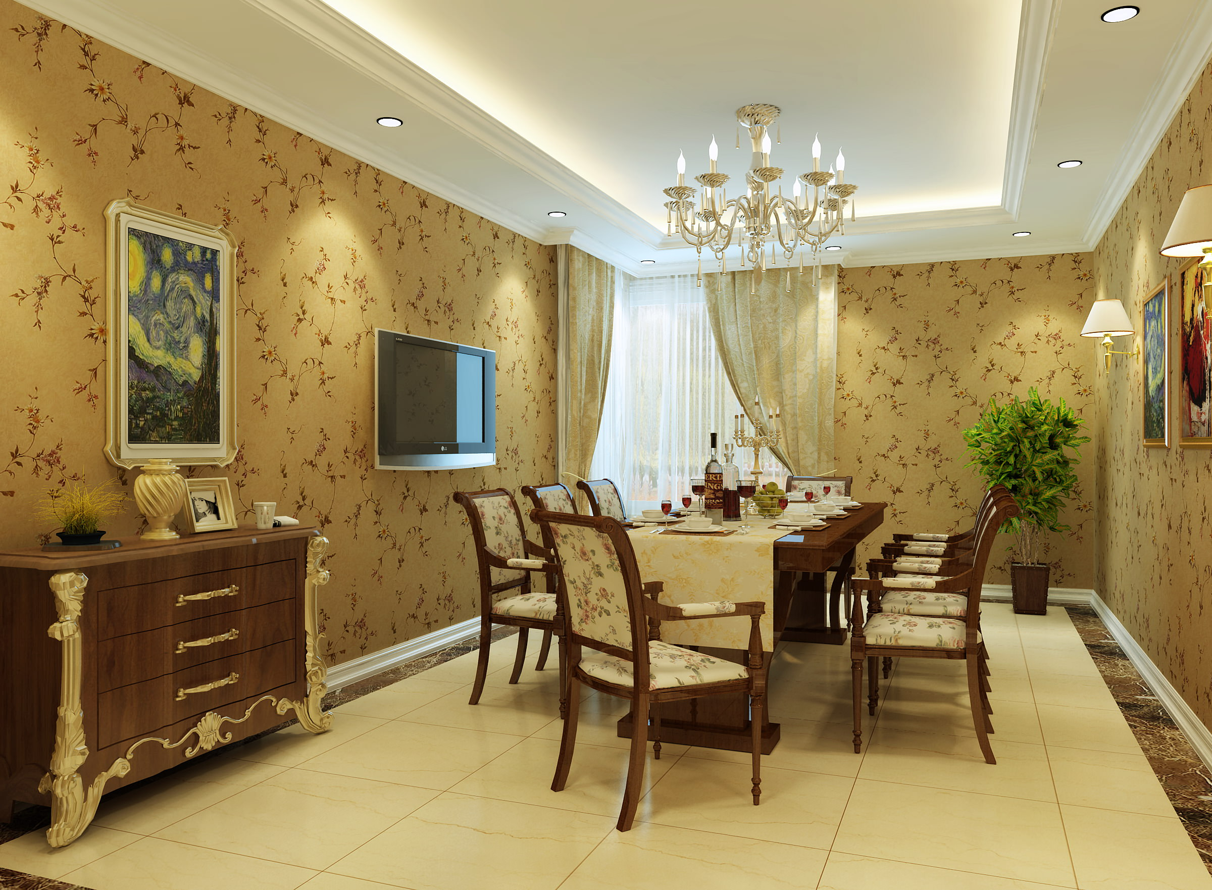 Merveilleux ... Dining Room With Tv And Wall Painting 3d Model Max 2