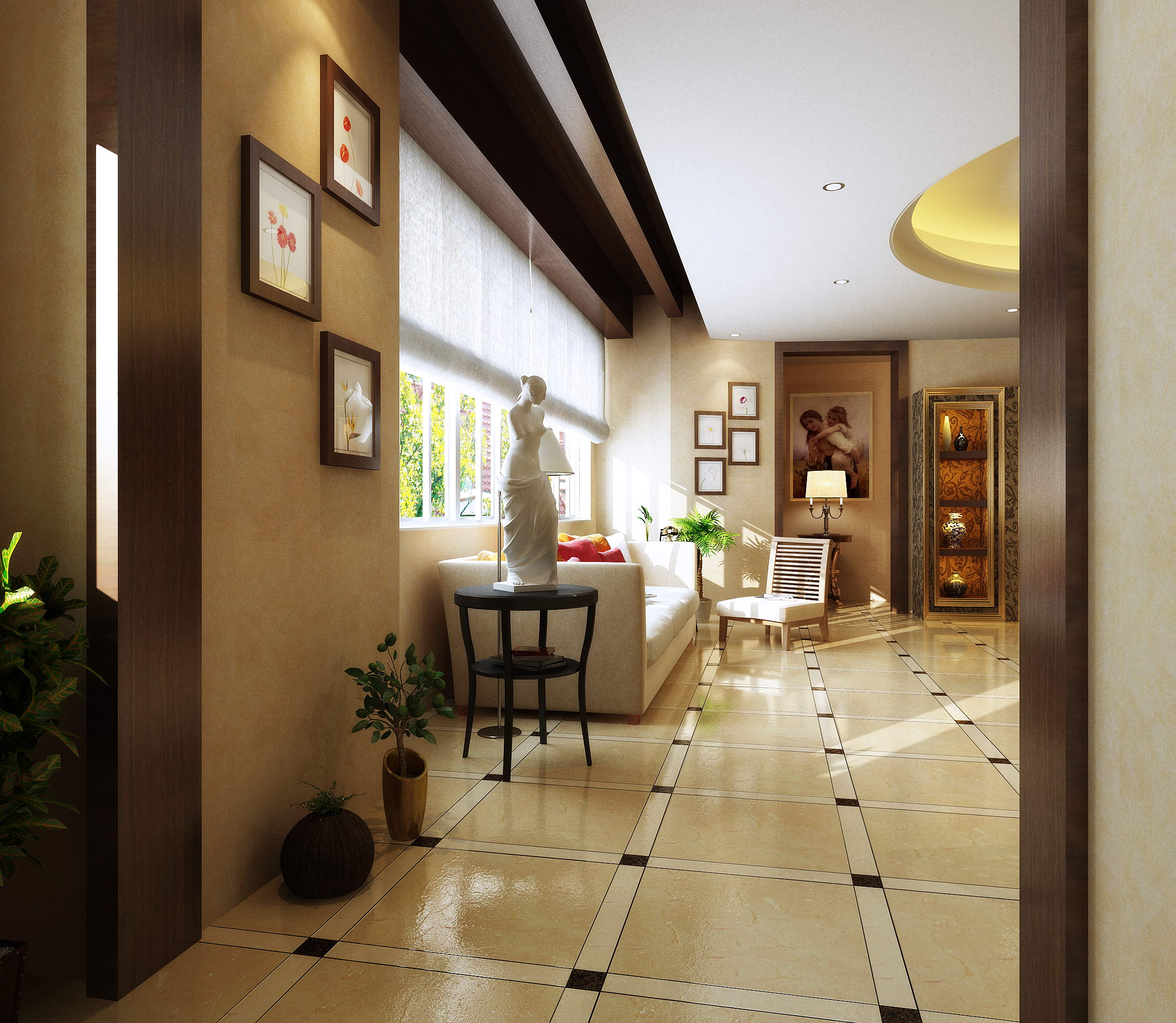 Spacious Drawing Room With Marble Floor 3d Model Max