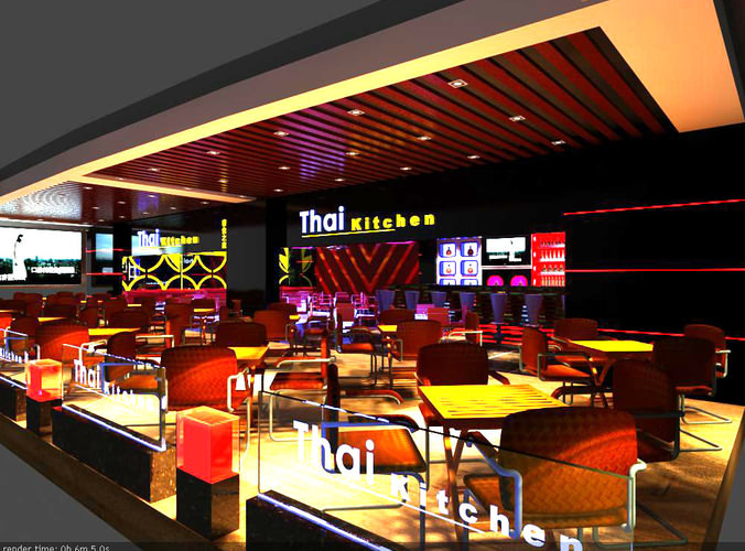 3d model thai kitchen restaurant cum bar cgtrader for Food bar 3d model