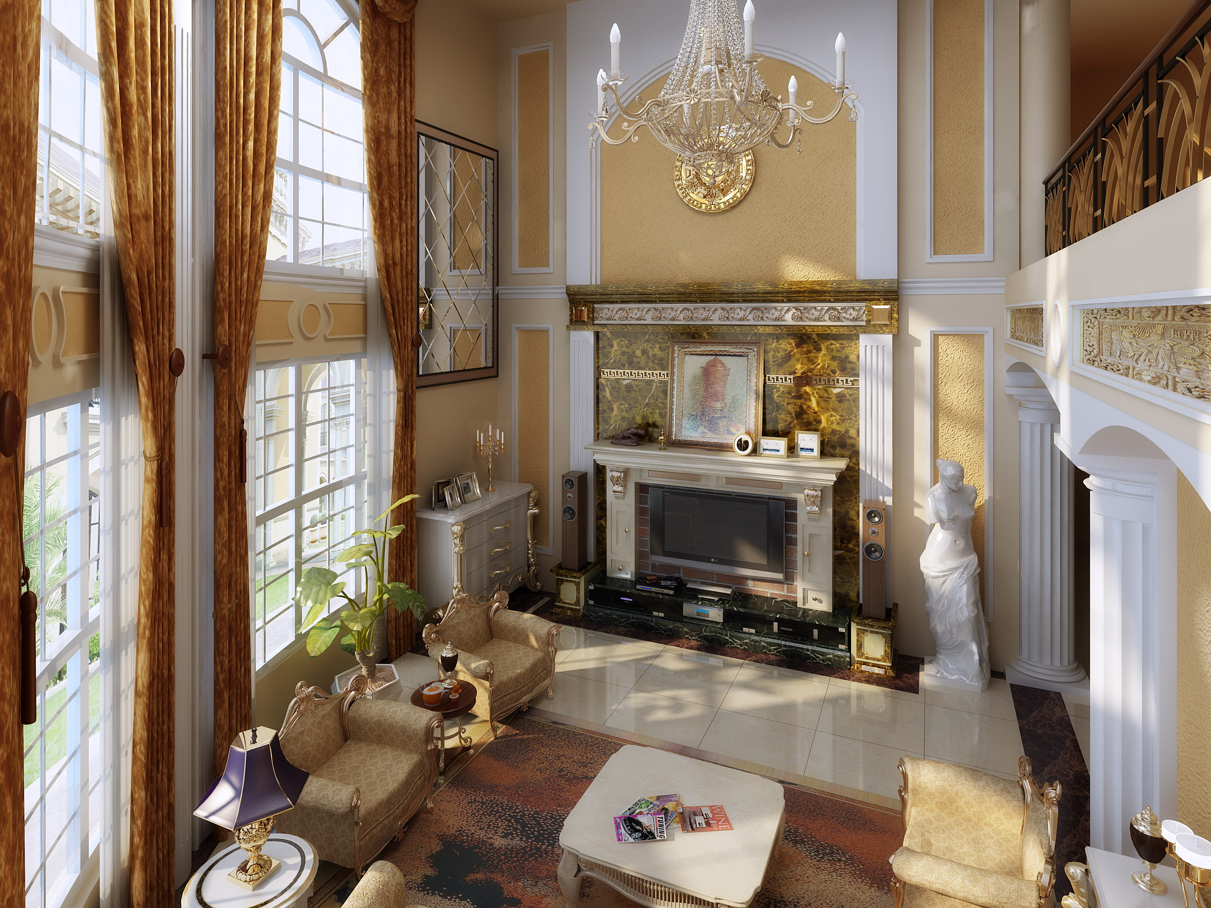royal drawing room with fireplace 3d cgtrader
