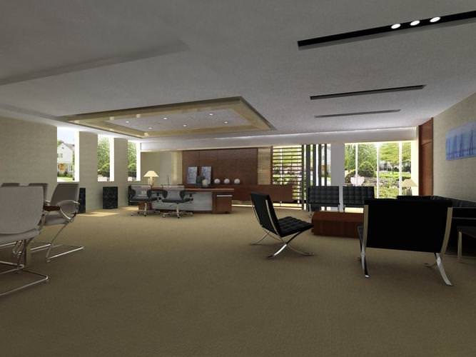 Broad Office Space With Ceiling Decorations 3D Model MAX
