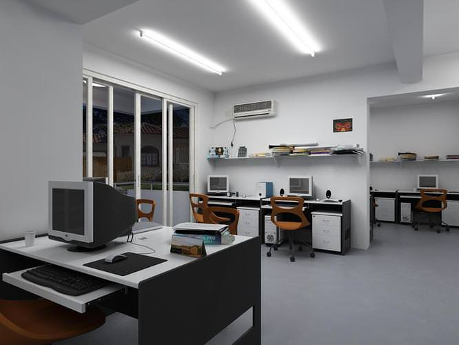 office with computer desks 3d model max 1