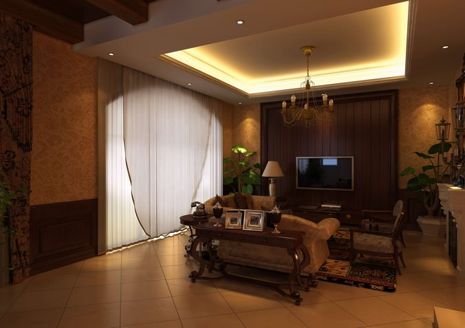 Drawing Room With Elegant Decoration 3d Model Max