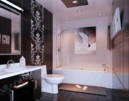 3D Wash Room with Exquisite Designer Walls