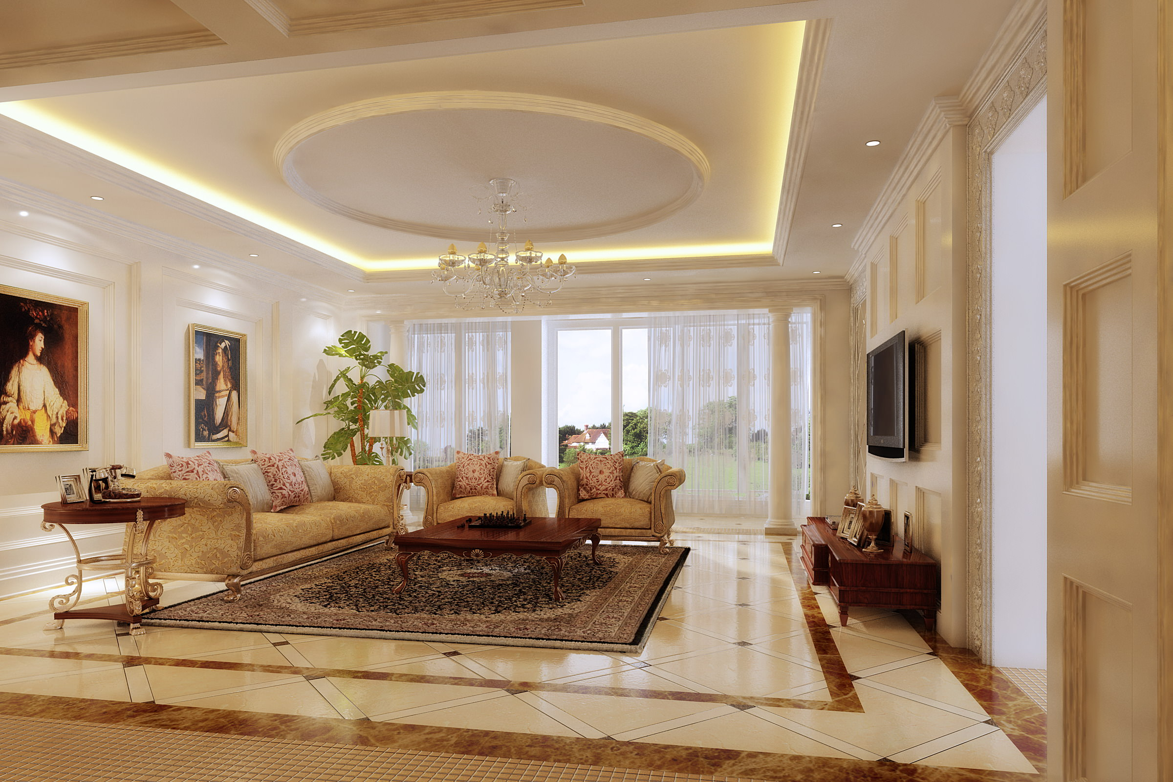Living room with grand wall paintings 3d model max cgtrader for Living room 3d model