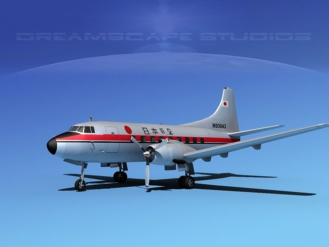 martin 202 japan airlines 3d model max obj mtl 3ds lwo lw lws dxf stl 1