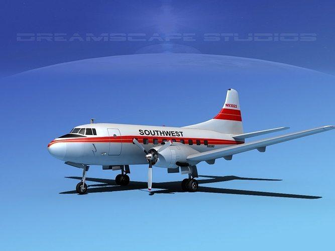 martin 202 southwest airways 3d model max obj mtl 3ds lwo lw lws dxf stl 1