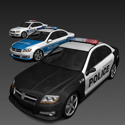generic police cars 3d model low-poly max obj fbx 1