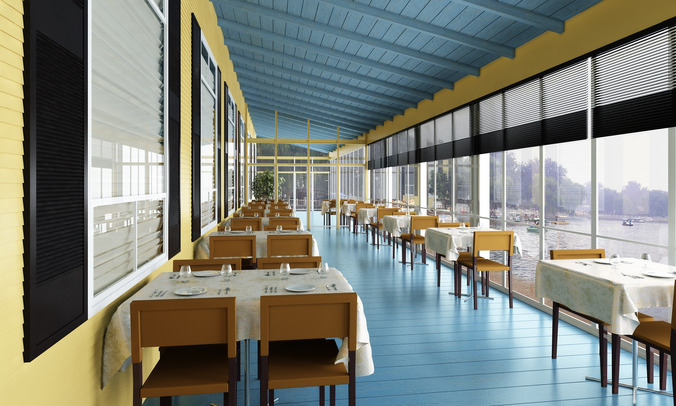 Restaurant with exquisite view 3d model max for Restaurant 3d max