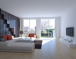 drawing room with wall decor and tv 3d