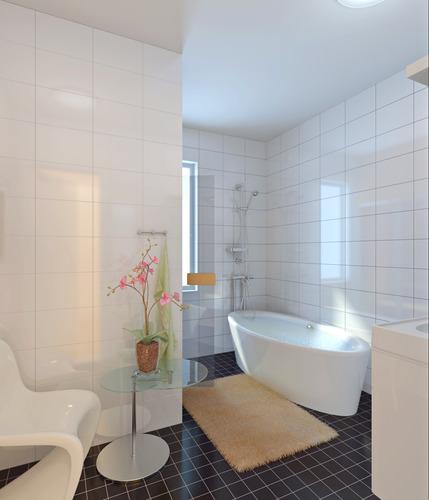 Fully Tiled Bathroom With Bathtub D CGTrader - Fully tiled bathroom