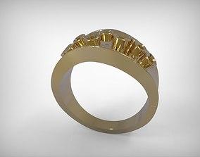 Jewelry Golden Diamonds Encrusted Ring 3D print model