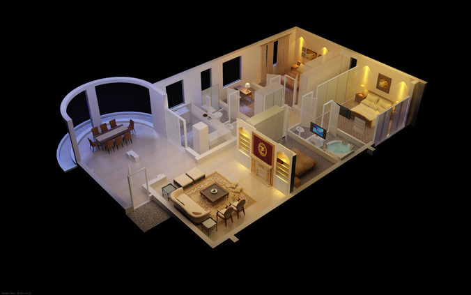 Luxurious House with Designer Interior 3D model