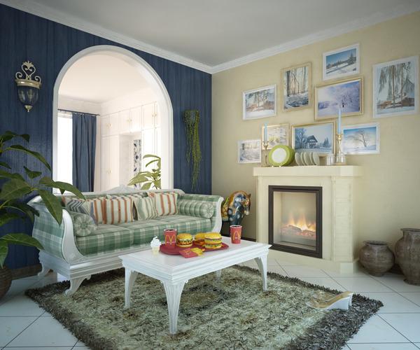 Living Room With Elegant Wall Designer 3d Model Max