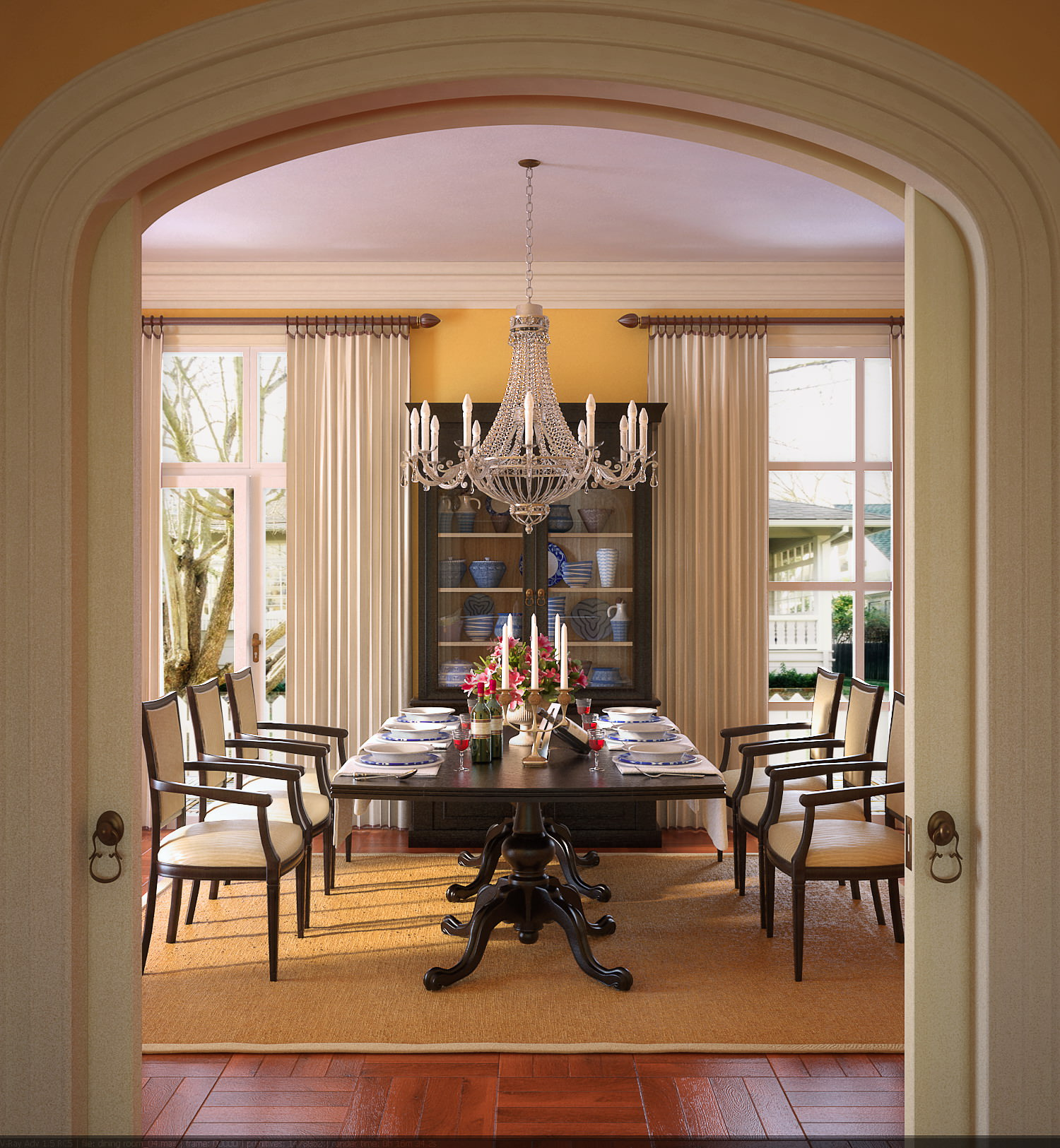Dining Room With Designer Showcase 3d Model Max 1
