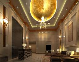 3d model reception space with chandelier