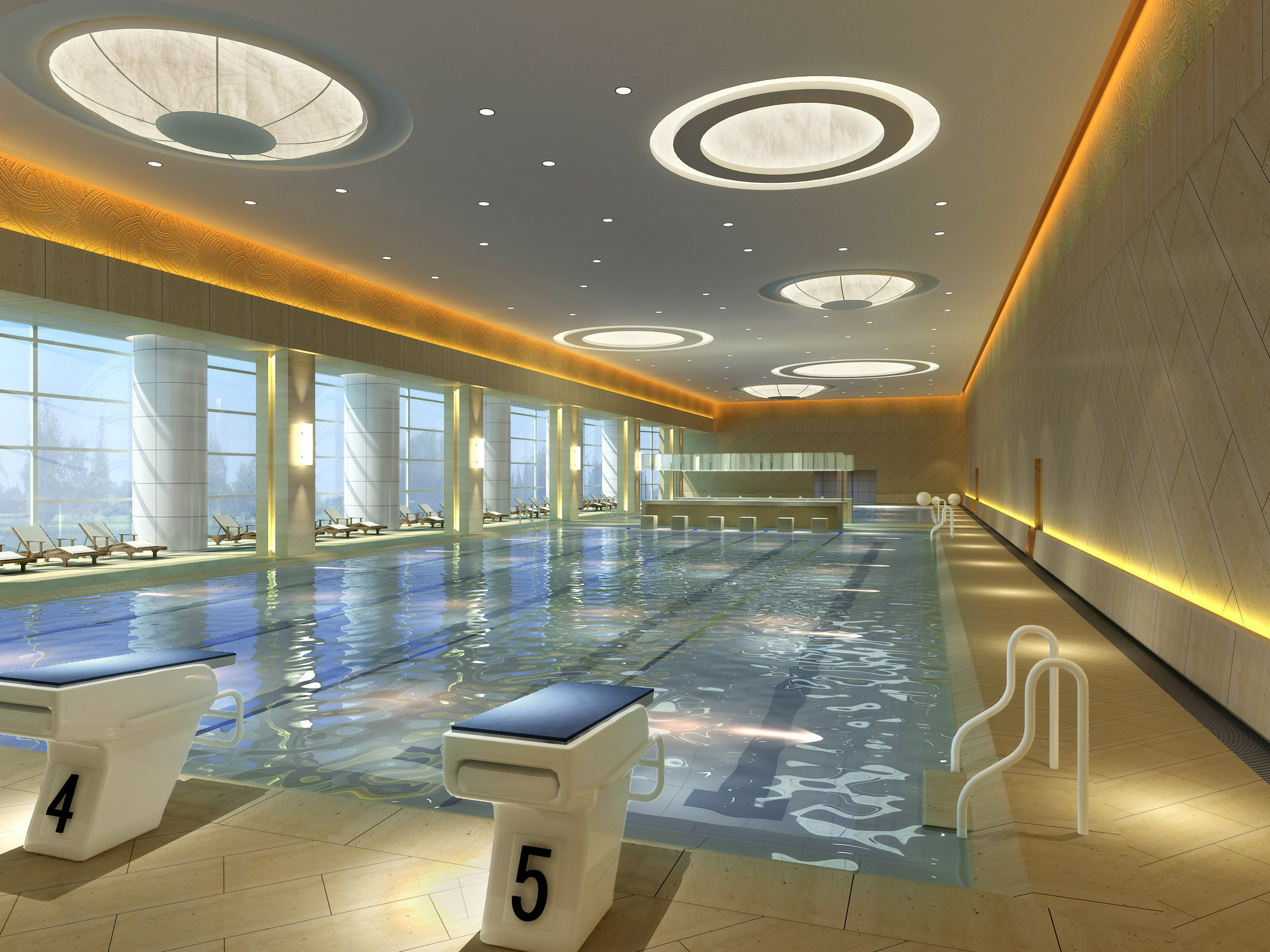 Swimming pool with tracks and fancy ceiling 3d model max for Indoor swimming pool ceiling materials