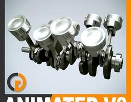 Animated V8 Engine Cylinders 3D Model