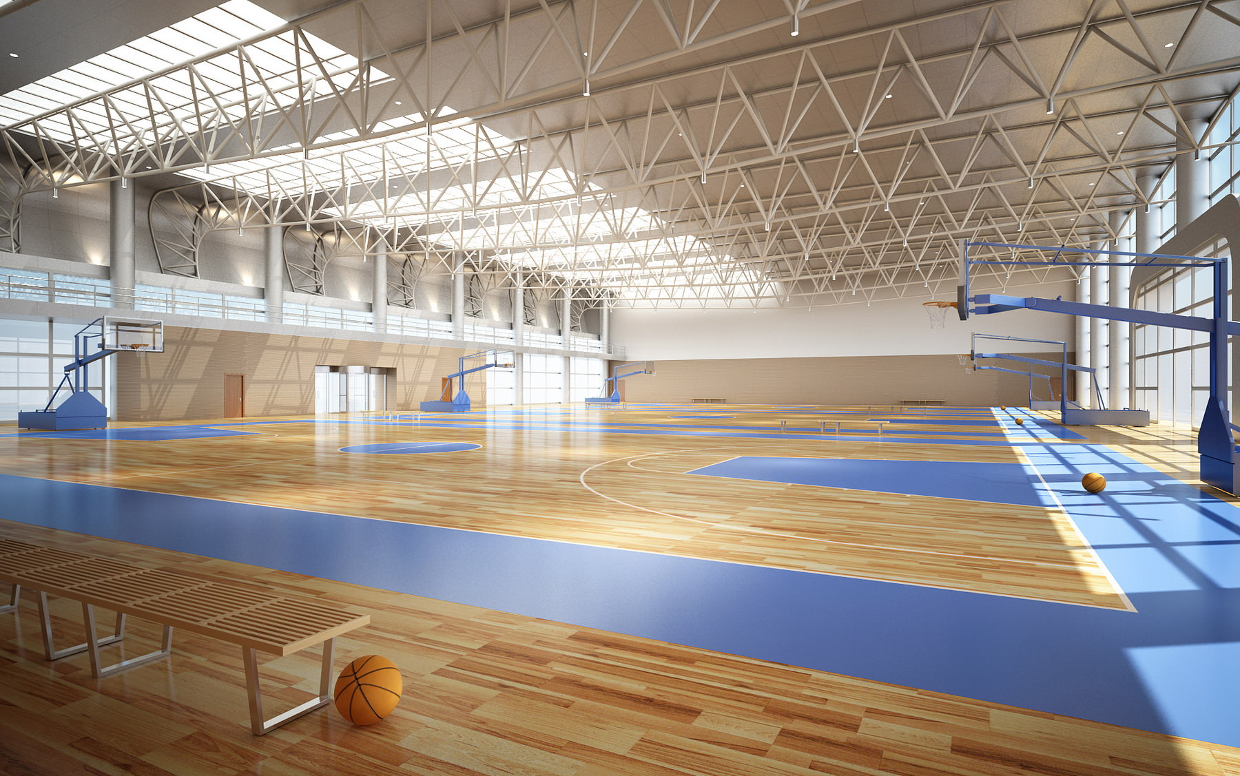 Broad Basketball Arena With Multiple Courts 3d Model Max