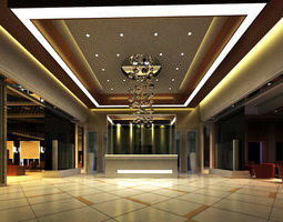 luxurious reception space with marble floor 3d model