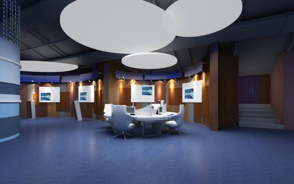 Exquisite Office With Fancy False Ceiling 3D Model MAX