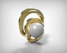 Jewelry Golden Part With Pearl In Twist 3D printable model