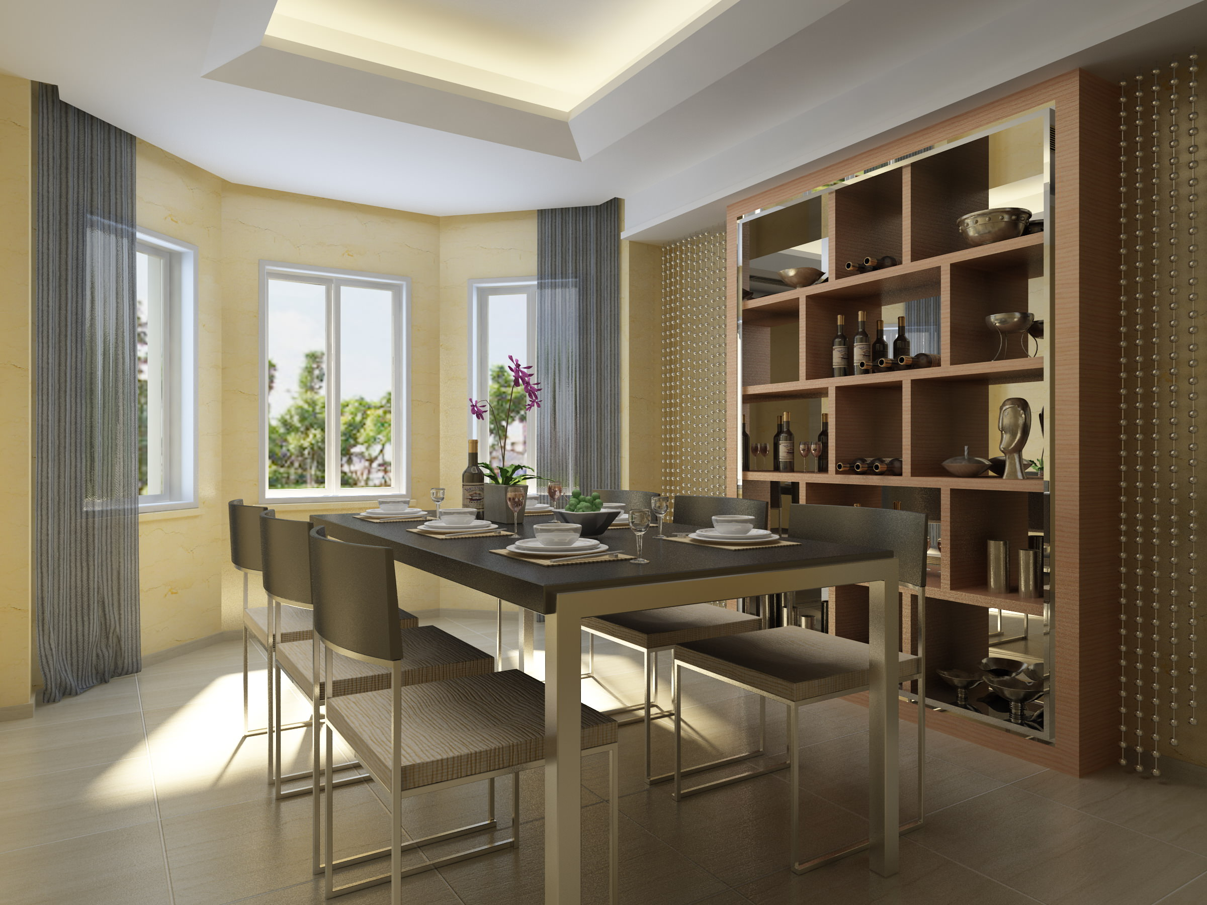 Merveilleux Dining Hall With Wall Showcase 3d Model Max 1 ...