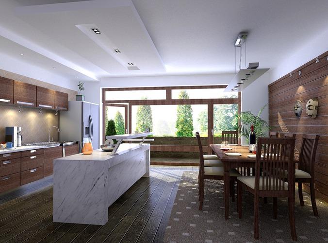 Fully furnished kitchen cum dining room 3d cgtrader for Kitchen room model