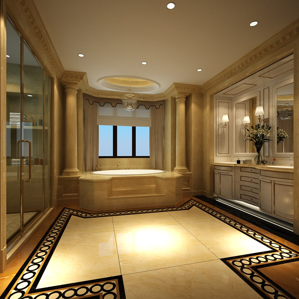 Luxury bathroom with huge bath 3d model max for Bathroom ideas 3d