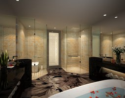 3d modern design romantic bathroom