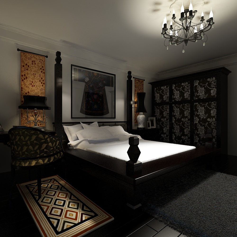 Dark small bedroom 3d model max - Beds for small space model ...