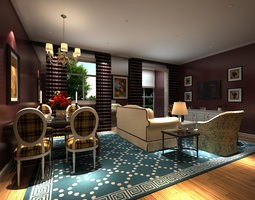 living room combined with dinning room2 3d
