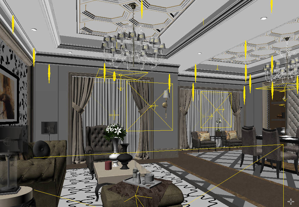 Fancy Living Room Combined With Dining 3d Model Max 2