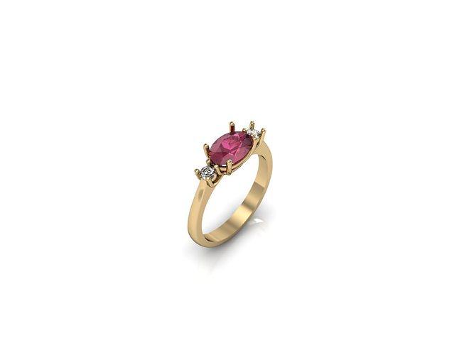 3D print model 3 stone Ring