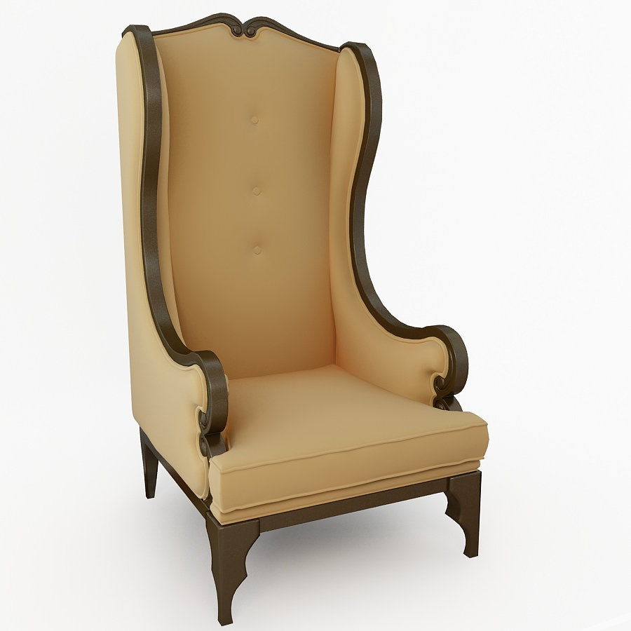Antique high back chairs -  High Back Chair 3d Model Max 2