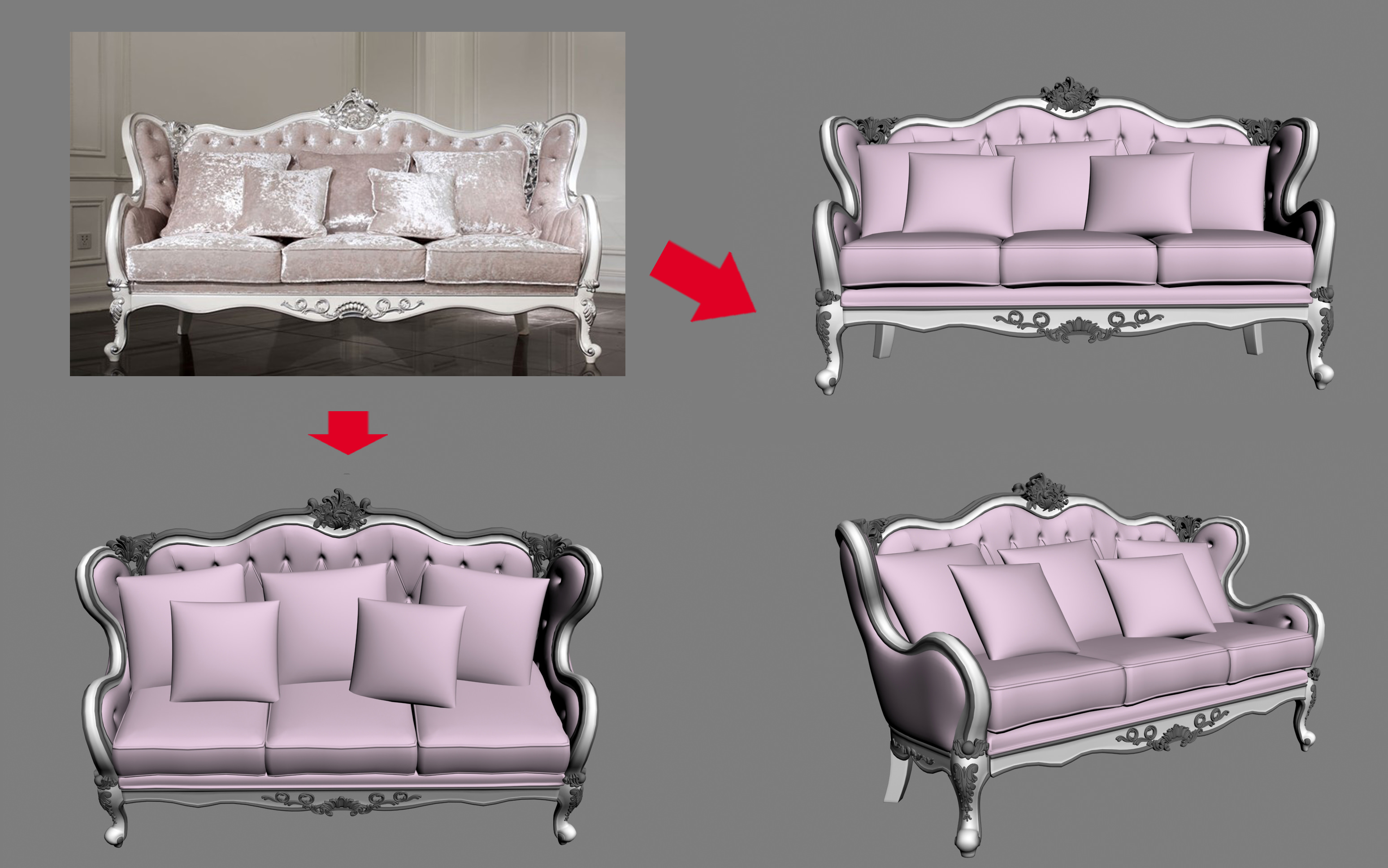 3D model Luxurious antique sofa with pillows