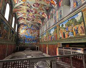 3D model Sistine Chapel Interior Low Poly