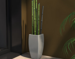 Plantpot with Bamboo Canes 3D