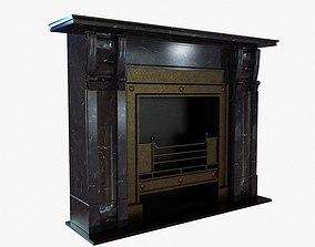 3D model Black marble vintage fireplace