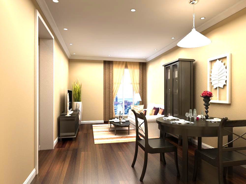 Home dining room with wooden furniture 3d model max for Model home dining room