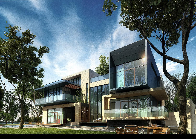 3d villa 023 3d model max for Exterior 3d model
