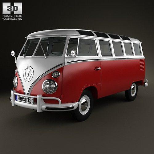 volkswagen transporter t1 1950 3d cgtrader. Black Bedroom Furniture Sets. Home Design Ideas
