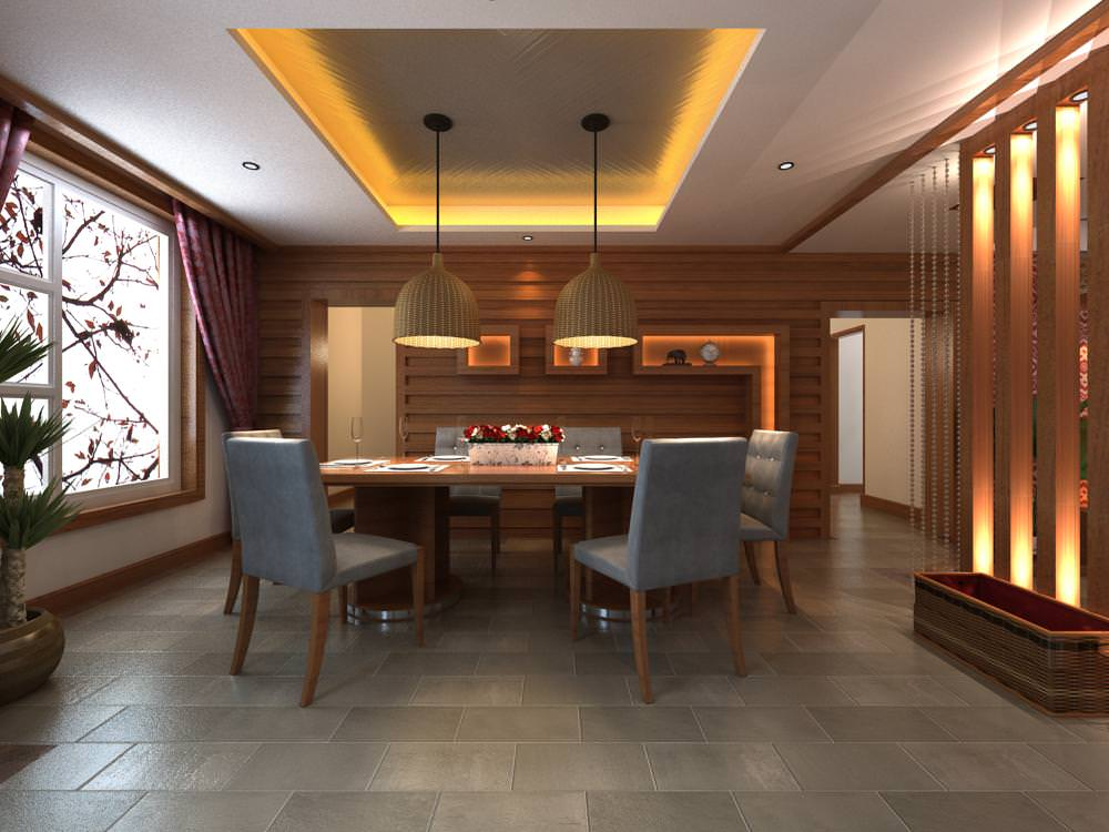 modern home dining hall 3d model max