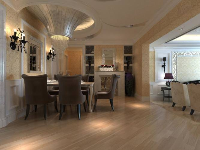 3d model home dining room with ceiling decor cgtrader for Model home dining room