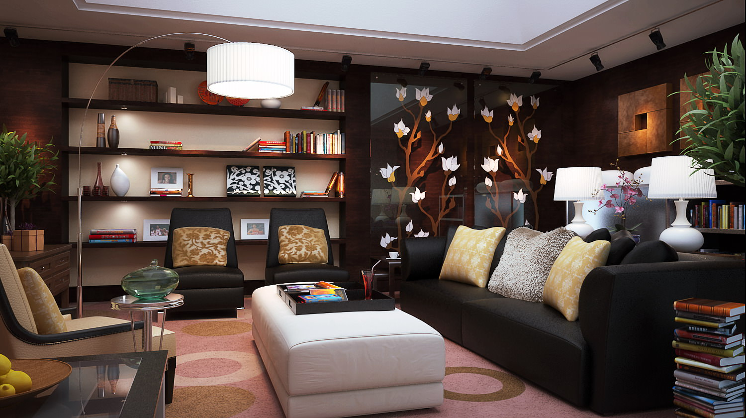 Living Room With Exquisite Wall Showcase Model Max