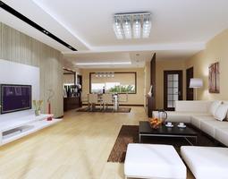 spacious living cum dining room 3d