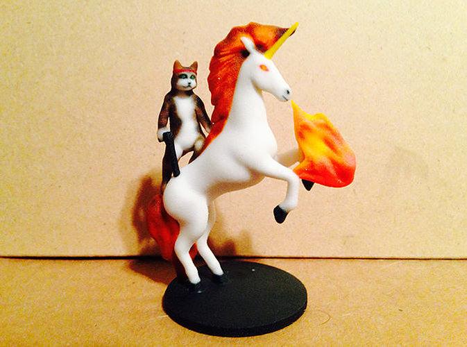 cat with guns on unicorn with lazor eyes 3d model wrl wrz 1