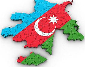 3d Political Map of Azerbaijan